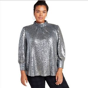 Anthropologie Luna Sequined Long Sleeve Blouse 3X